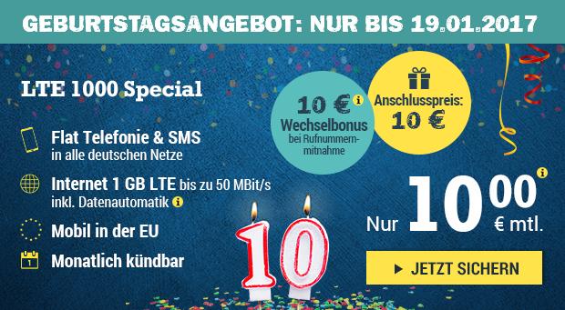 Geburtstagsangebot: Nur bis zum 19.01.2017